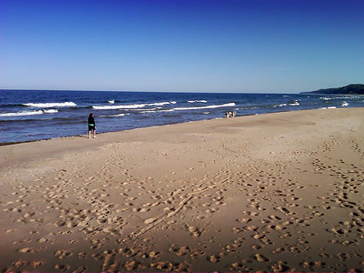 Memorial Day Weekend: Early morning walk with Sophie and Lucy along Lake Michigan at Muskegon State Park.