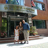 Abby, Libby, and Mike in front of the entrance to Eastern Social Welfare Society in Seoul.