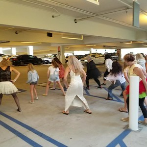 Practice in the garage before the performance.
