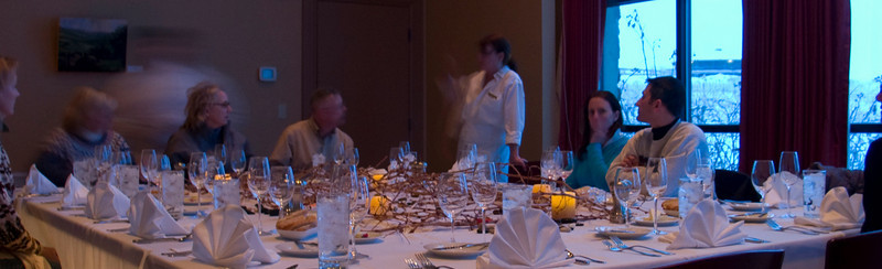 A picture of our wine dinner at the Cave B Inn and Winery.