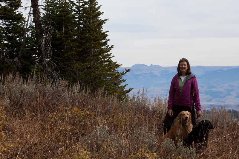 Hiking to Ski Lake with Daisy and Indy and Sleeping Indian Mountain in the background