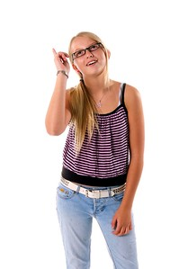 Young girl in cute has an idea