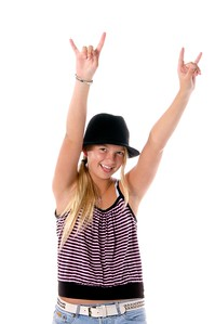 Young girl in cute hat and cloths flashing the Rawk On sign