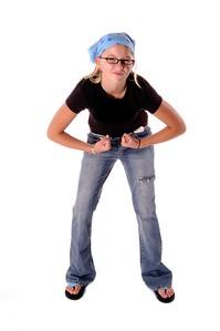Young girl posing as a tough girl