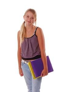 August means Back To School,  Stylish young female Middle School student standing.isolated over white.