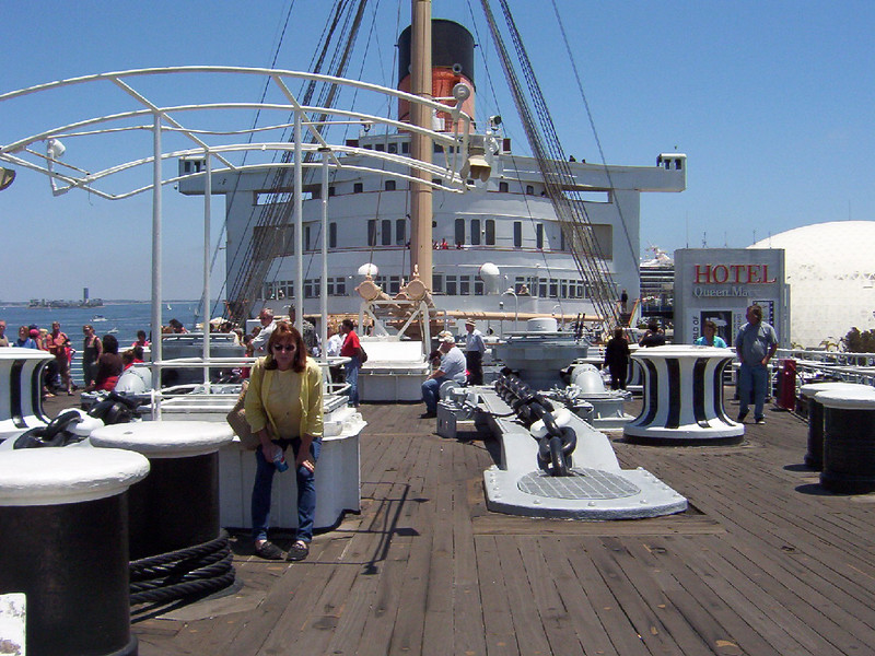 On deck of the Queen Mary.