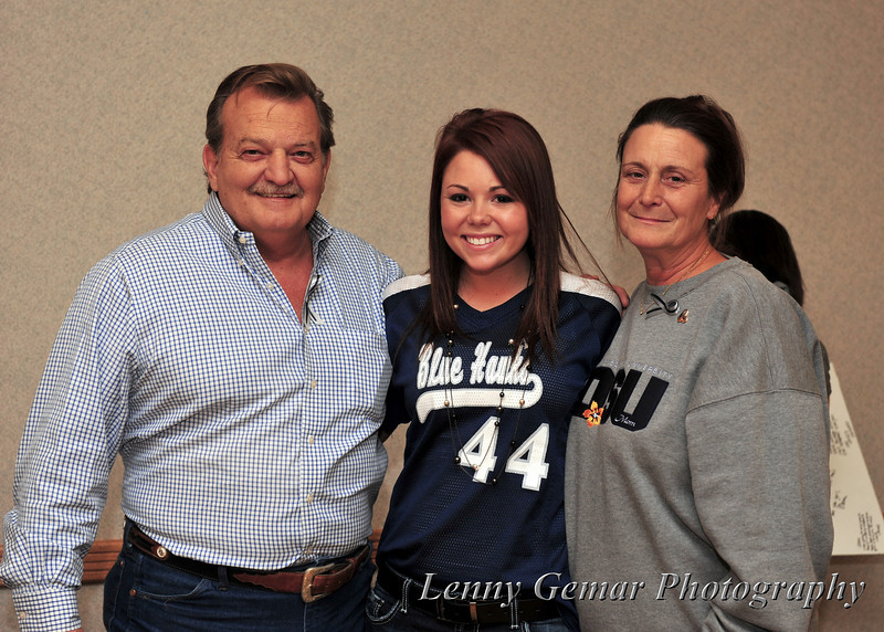 Afton Williamson's parents Fred and Lizz, with DSU Jr Jenna Kirksey.  Jenna was the recipient of an emergency call from Afton on that fateful night.