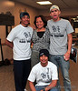 """Claire Gemar with the """"shirt crew.""""  These guys have been taking orders and delivering shirts all week."""