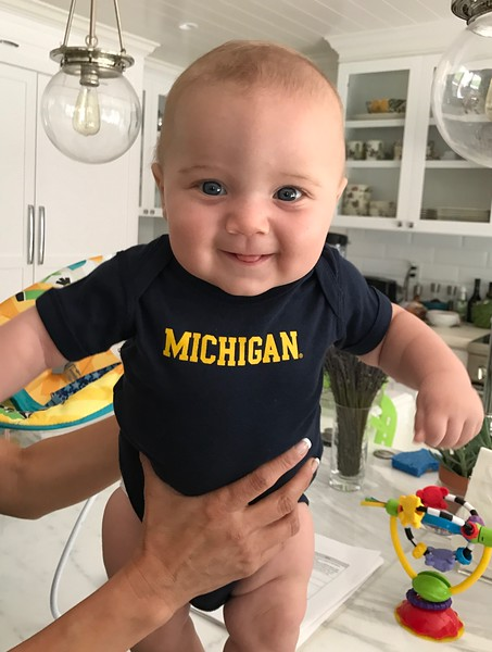 Walter Neal Barmack, at 5 mo, dresses for the 2017 football season in June 2017
