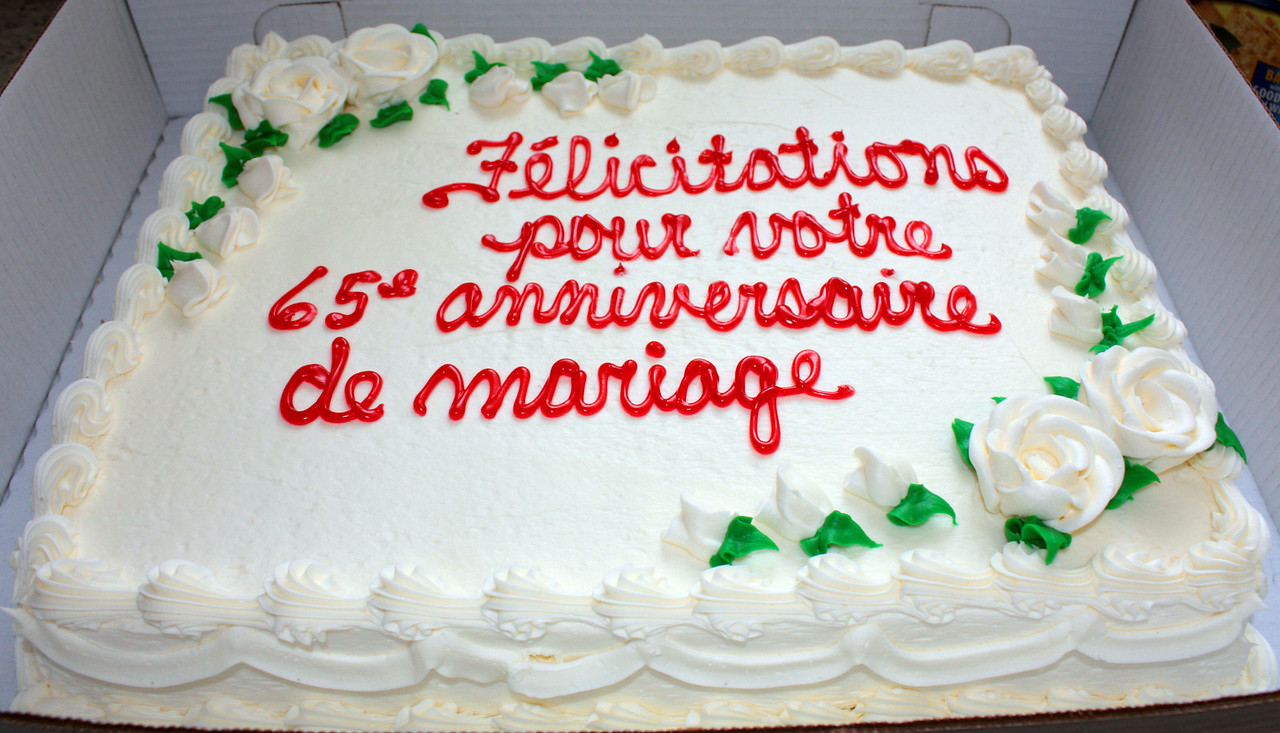 SPECIAL CAKE - CONGRATULATION ON YOUR 65th WEDDING ANNIVERSARY