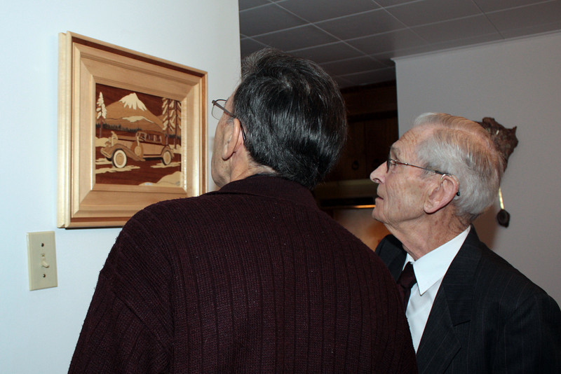JEAN-GUY AND DAD LOOKING AT DAD'S WOODWORK - MARQUETERIE