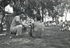 August Lehman standing, Leonard Marcotte kneeling, Grandpa Joe Marcotte holding Michael Marcotte
