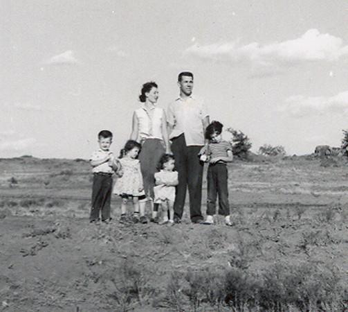 Michael, Janine, Sherri and Michelene with Helen and Leonard, on teh Baggett farm in roosevelt, ca 1957.