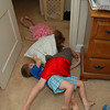 There was a 3-kid pile-up that spread from the bedroom into the hallway.