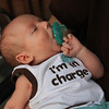 "Ethan Samuel wears his ""I'm in charge"" shirt and knows how to relax too."