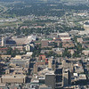 Downtown Lincoln, Univ of Nebr campus, football stadium upper left.