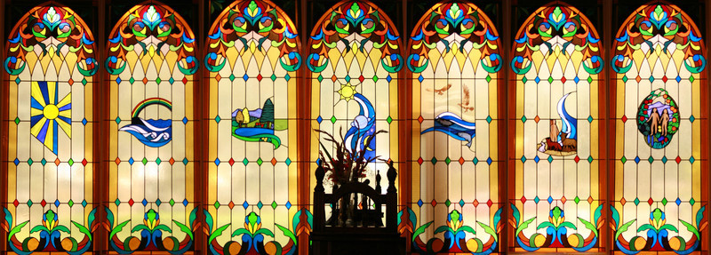 Composite of the stained glass windows in the First Presbyterian Church, Lake City, Colorado.  Founded by my wife's great, great grandfather, George Marshall Darley in 1874.