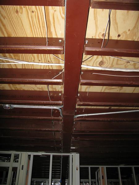 In-ceiling wiring in living room. Facing east.