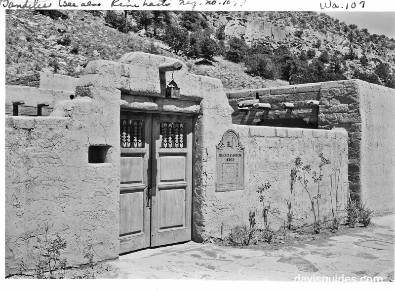 Frijoles Canyon Lodge complex at Bandelier, constructed by CCC. 1940