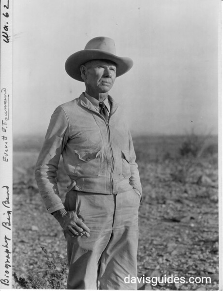 """Everett Townsend, the """"Father """" of Big Bend National Park. Photo taken on the mesa north of Johnson's Ranch, 1936"""