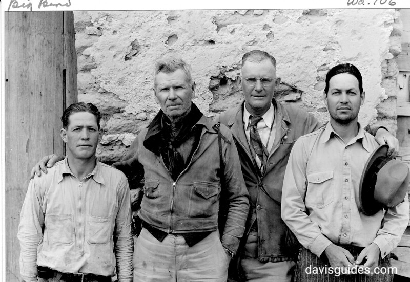 Everett Townsend and George Grant with local guides Jaime Vela and Louis Urbi, proposed Big Bend National Park, 1936