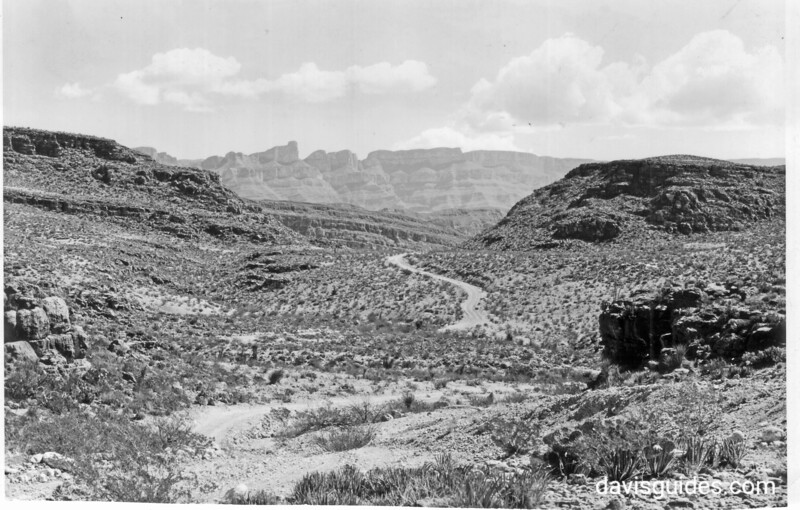 The road to Boquillas with the Shot Tower and part of the Sierra Del Carmen in Mexico beyond, proposed Big Bend National Park, 1936