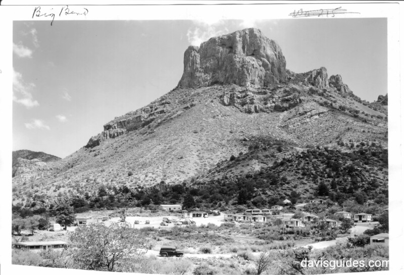 Casa Grande in Chisos Mountains with visitor facilities in foreground, Big Bend National Park, 1953