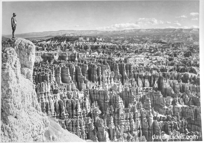 Man standing to view the Amphitheatre, Bryce Canyon National Park, 1929