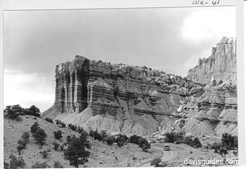 Great Organ and Temple along the road between Grand Gorge and Capitol Wash, Capitol Reef National Park, 1935.