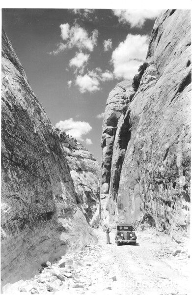 In the Narrows of Capitol Wash Road between Fruita and Notom, Capitol Reef National Park, 1935