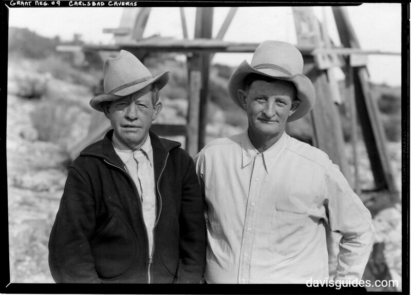 "Jim White [right] with unidentified companion( possibly a Mexican nicknamed ""Muchacho""). White is the reputed discoverer of Carlsbad Caverns in 1901. Carlsbad Caverns National Park, 1934."