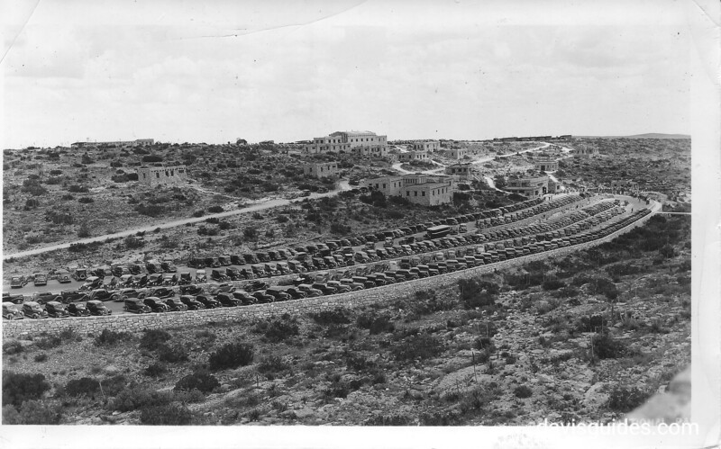 Parking terraces and buildings near the caverns entrance, Carlsbad Caverns National Park, 1934.