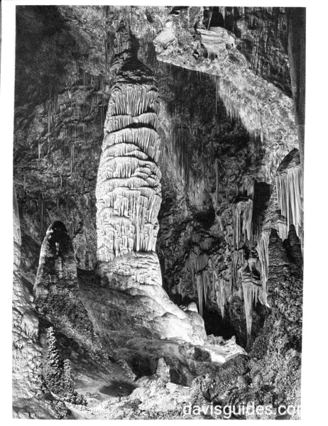 The Giant Dome, estimated to be 600 million years old, in the Big Room of the Hall of Giants, Carlsbad Caverns National Park, 1934.