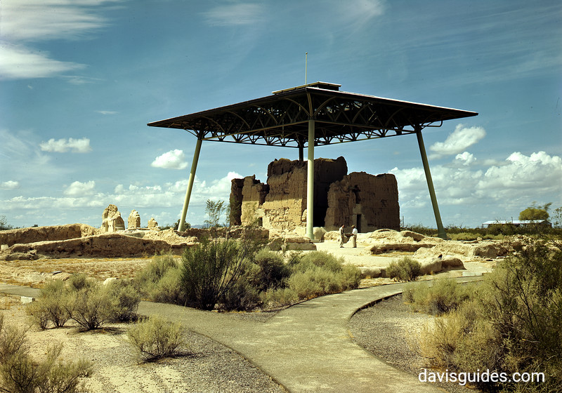"A color photograph of the ""Big House"", Casa Grande Ruins National Monument, 1947."