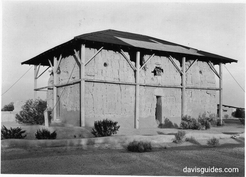 The Big House ruins with an earlier protective roof, Casa Grande Ruins National Monument, 1929.