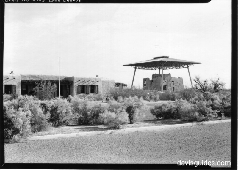 Plaza in front of the headquarters building and the Big House, Casa Grande Ruins National Monument, 1940.