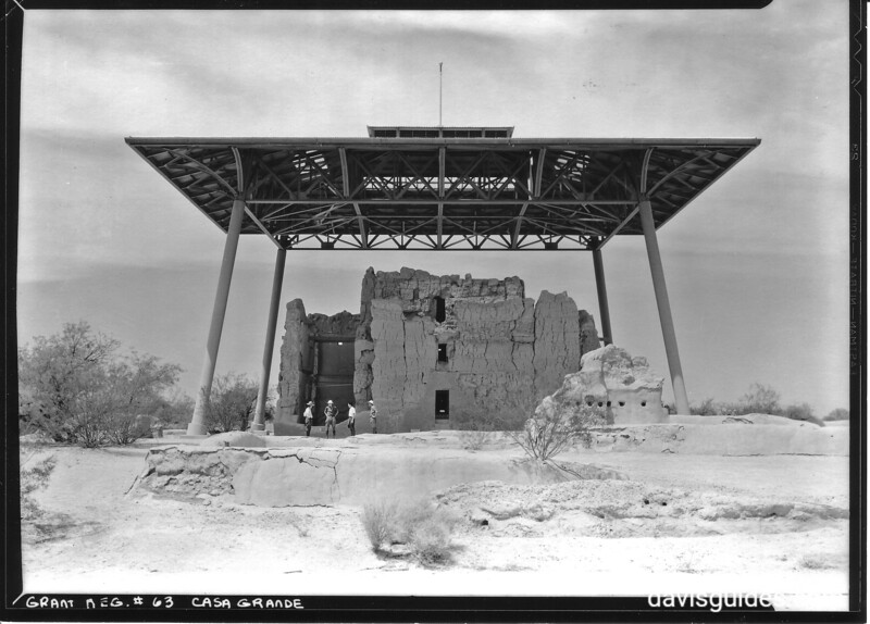 The main building of the Big House, Casa Grande Ruins National Monument, 1934.