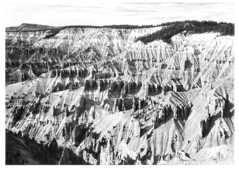 View from rim near the lodge, looking northwest with Brian Head in the distance. Cedar Breaks National Monument, 1935.