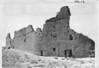 North wall of Pueblo Bonito from west side with tabular form of masonry at the top, Chaco Canyon National Monument (now Chaco Culture National Historical Park), 1929.
