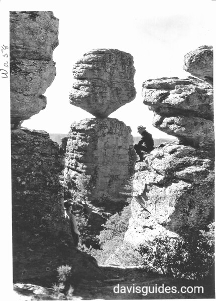 Close-up of the Balanced Rock in the Wonderland of Rocks, Chiricahua National Monument, 1935.