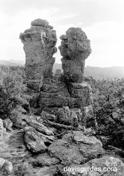 Approximate Year: 1935<br /> Park: Chiricahua NM<br /> Photographer: Grant, George A.<br /> Description: Punch and Judy in the Balanced Rock area.