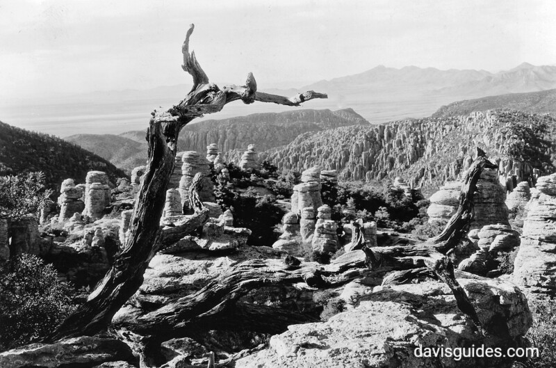 Approximate Year: 1935<br /> Park: Chiricahua NM<br /> Photographer: Grant, George A.<br /> Description: From the Balanced Rock area can be seen the Sulphur Springs Valley and Don Cabezos Peak over the Wonderland of Rocks.