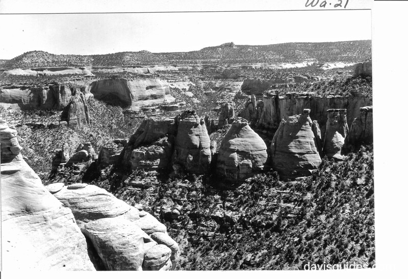 """The """"coke ovens"""" in Monument Canyon, as seen from the new road, Colorado National Monument, 1935."""
