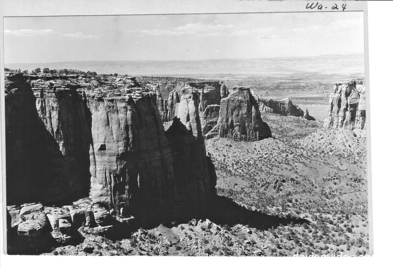 View down Monument Canyon from the road, showing some giant monoliths, Colorado National Monument, 1935.
