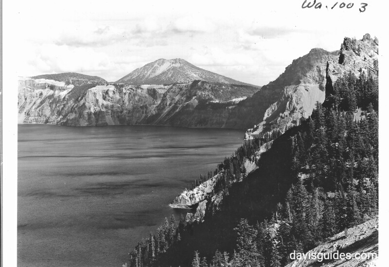 Mount Scott above the south rim of Crater Lake, Crater Lake National Park, 1938.