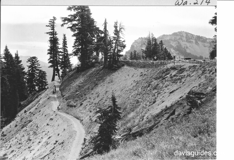 Trail to Crater Lake from rim. Note stone parapet at right. Crater Lake National Park, 1931.