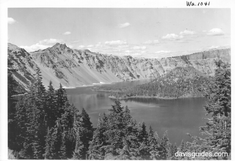 Mount Hillman and the trail at end of Wizard Island, Crater Lake National Park, 1938.