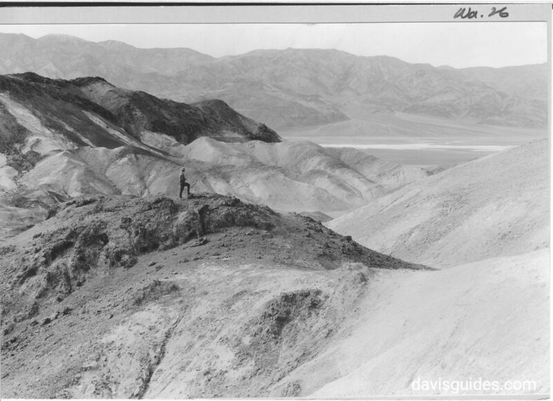 Above the entrance to Artist's Drive. One gets many reverse views into Death Valley and the Panamints. In the foreground are seen the highly colored tertiary beds that lie along the lower slopes of the Black Mountains.  Death Valley National Park, 1935.