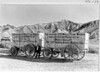 Two of the original Twenty Mule Team Borax wagons on display at the Furnace Creek Inn. Death Valley National Park, 1935.