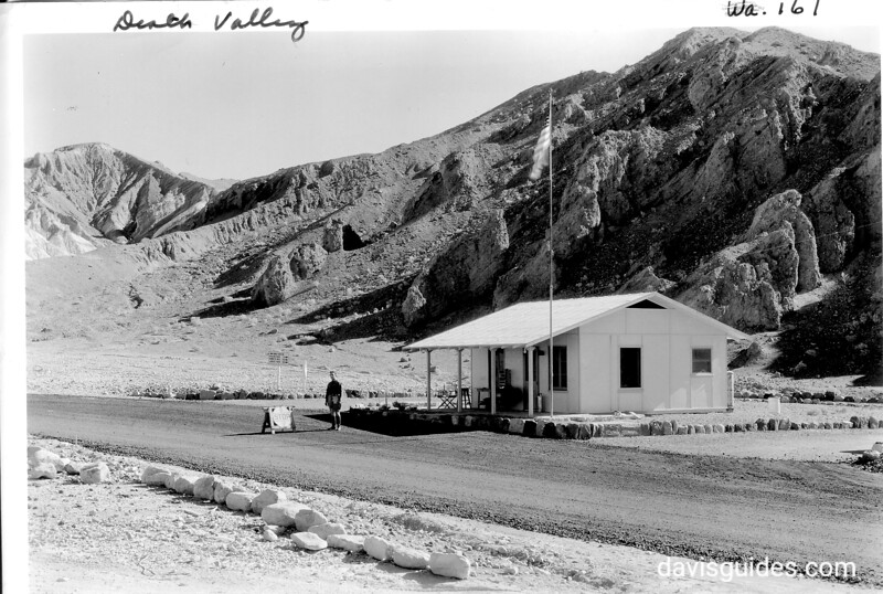 CCC enrollee staffing the park check-in station near Furnace Creek Wash, Death Valley National Park, 1935.